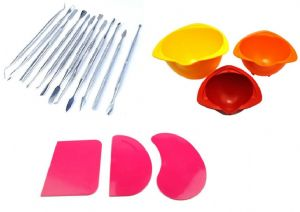 "Cake Decorating, Icing, Baking Set. 12 Carvers Probes, 3 Pink Flexible Scrapers, 6"" 5"" 4"" Colourful Mixing Bowls. S7624"